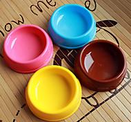 Cerchio Forma Plastica Pet Food Bowl per Cani Gatti (colori assortiti, 15 x 15 x 4cm)