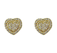 Fashion Gold Plated Heart Cubic Zirconia Earrings