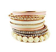 Bohemian tyle Gold Plated Alloy Zircon Flower Pattern Bracelet