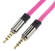 3.5mm Male to Male Audio Connection Cable Flat Type Purple Golden (1.2m)