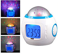 Starry Sky Projector Digital Music Alarm Clock (White, 3xAAA)