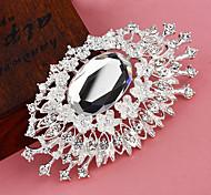 banhado a prata olho padrão broche de flor de mulheres