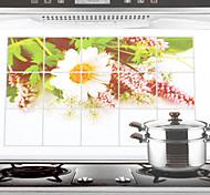 75x45cm Wild Chrysanthemum Pattern Oil-Proof Water-Proof Kitchen Wall Sticker