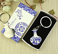Personalized 6pcs Blue-and-white Lotuses Design Keychain