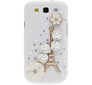 Bling Bling Noble Eiffel en Flower Design Hard Case met Rhinestone voor Samsung Galaxy S3 I9300