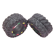 Tire Shaped with Colorful Bone Pattern Rubber Squeaking Toy for Pets Dogs