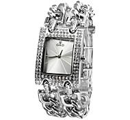 Frauen Diamante Dial Analog Quarz Silber Stahl Band-Armband-Uhr (Silber)