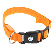 "Adjustable Nylon Pure Color Orange Collar with LED Lights for Pets Dogs (Assorted Sizes, 40-48cm/15.74-18.89"")"