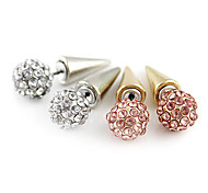 Full-Diamond Ball Front & Back Awl Earrings(Assorted Color)