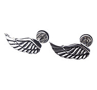 Wing-Shaped Stainless Steel Puncture * 1 Pair Of Silver Earring
