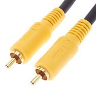 jsj® 1.8m 5.904ft RCA macho a macho negro cable de vídeo para cine en casa DVD