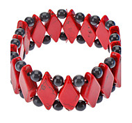 Red Turquoise Gemstone Diamond Elastic Bracelet