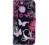 Butterflies and Chrysanthemum Pattern Full Body Case with Card Slot and Built-in Matte PC Back Cover for iPhone 5/5S