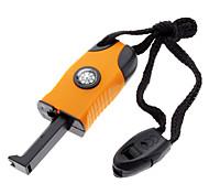 Wilderness Survival Tool 3-in-1 Fire Sparkle Flint + Compass + Whistle(Orange)