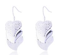 Fashion 925 Sterling Silver Plated Matte Heart Drop Earrings
