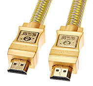 HDMI V1.4 Male to Male Cable Yellow&White Net-Plated Gold-Plated for Chromecast/Blu-Ray DVD(5M)