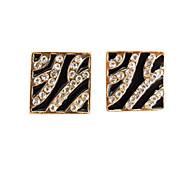 Sexy nightclub big wind flash diamond black drip zebra leopard earrings E156