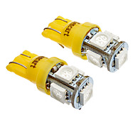 T10 5x5050SMD LED Side Light 194 168 W5W Amber/Yellow Wedge Tail Light (12V)