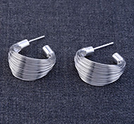 "Lureme®925 Sterling Silver Plated Wire ""C"" Shape Earrings"