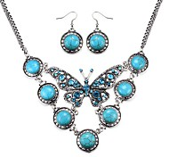 Elegant Crystal Butterfly Turquoise Dangling Bubble Necklace and Earrings Set