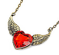 Red wings peach heart long necklace sweater chain Gem N407