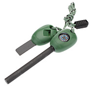 Outdoor Survival Magnesium Ribbon Flint with Compass (Green)