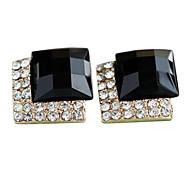 Box voller Diamanten schwarzen Edelstein Diamant Scheibe Luxus europäischen und amerikanischen Retro schwarzen Edelstein Diamant-Ohrstecker E72