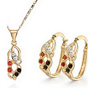 Femme chaude de bijoux Vendre 18K couleur or collier en cristal de errement Set