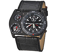 Men's Compass Thermometer PU Band Quartz Analog Wrist Watch (Assorted Colors)