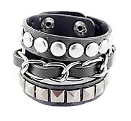 Punk Style de trois couches Rivet Bracelet en cuir (couleurs assorties)