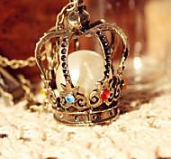 Корейская версия ретро крупный торгово корону Перл Diamond свитер цепи ожерелье N215