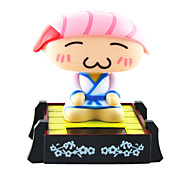 Solar Powered Sushi Chef Sacudir la cabeza Toy Pink Sushi Head