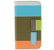 Colorful Style frais PU étui en cuir flip-ouvert avec fente pour carte, support et sangle pour iPhone 4/4S