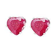 Gold plated bronze zircon stud Earrings ERZ0286 - Heart Shaped