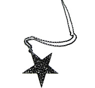 Korean version of the simple and stylish black five-pointed star sweater chain N428
