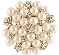 z&x® alta calidad perlas de aleación de cobre decorado broche plateado