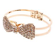 Full Diamond Bow Gold Simple Spring Openings Bracelet