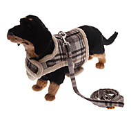 Dog Harness / Leash Keep Warm Black / Brown Textile