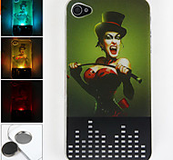 New Sense Syren Pattern 3D Flash Light LED Color Changing Hard Case for iPhone 4/4S
