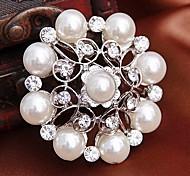 Silver Plated elegante blanco perla broche de la flor