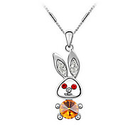 Austrian Crystal Rabbit Pendant Necklace (Assorted Color)