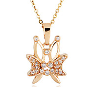 Gold plated bronze zircon Butterfly-Shaped Pendant Necklace D0292