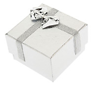 Square Bowknot Paper Rings Boxes - Silver