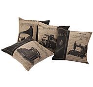 Набор из 4 старых вещей Натюрморт хлопок / лен Подушка декоративная крышка