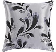 "18 ""Square Silver Iris Tectorum Poliéster Patrón almohada cubierta decorativa"