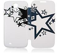 Negro blanca de cinco puntas estrella completa caja de cuero del cuerpo para Samsung i9500 Galaxy S4