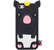Cartoon Pig Wearing Crown Silicone Soft Case for iPhone 5C (Assorted Colors)