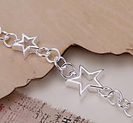 Fashion 19.5cm Women's Silver Copper Star Bracelets