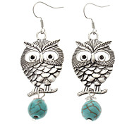 Vintage Owl Green Turquoise Drop Earrings
