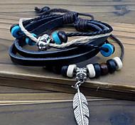 Leaf pendant beaded leather bracelet